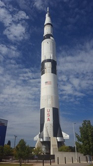 "One of the two Saturn V rockets in Huntsville, this one outside showing off it's massive height. Notice the ""short"" trees"