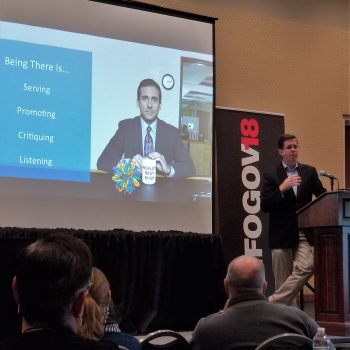 TeraThink Director Laurence Hart Speaking on Leadership at the 2018 InfoGovCon Leadership Summit. Picture by Nick Inglis